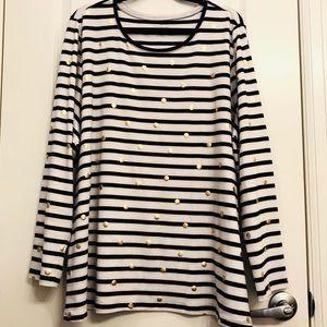 Lane bryant Striped Polka Dot Long Sleeve t shirt